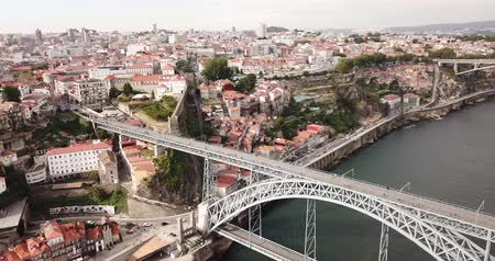 dom : Porto city view with Douro river and Dom Luis I bridge, Portugal Stock Footage