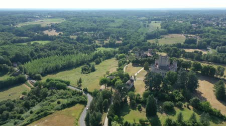 forestal : Picturesque summer landscape with imposing medieval Roquetaillade Castle in French commune of Mazeres, Gironde