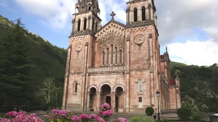 blessed virgin : Picturesque summer landscape with monumental ancient temple Basilika de Santa Maria in Covadonga, Spain