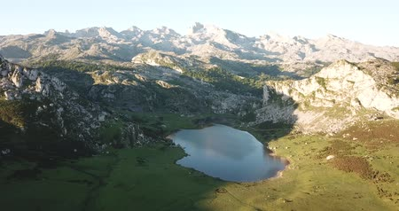 surroundings : Aerial view of Serene landscape with one of Lakes of Covadonga and mountain range in summer day