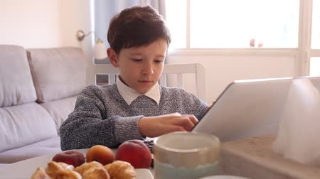 dez : Teenager plays on laptop in kitchen interior