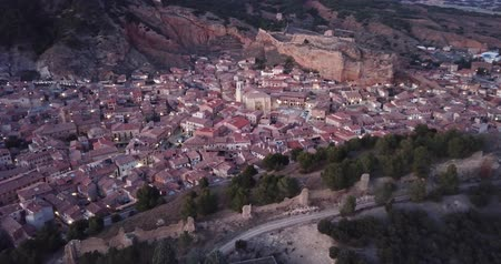 saint mary : Evening aerial view of medieval Spanish town of Daroca with illuminated Basilica of St. Mary of Sacred Body