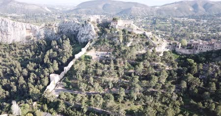 pyreneje : Aerial view of medieval fortress Xativa Castle at sunny day, Valencia, Spain