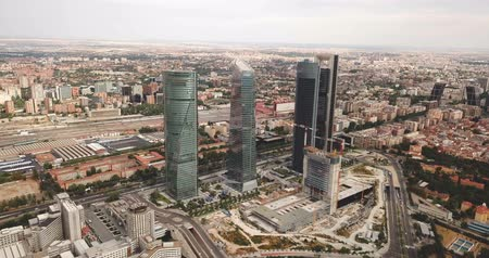haziran : Four towers of the business district in Madrid. Spain