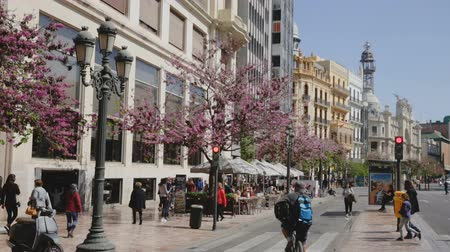 architecture and urbanism : VALENCIA, SPAIN - APRIL 16, 2019: Lively central streets of Valencia city in sunny spring day Stock Footage