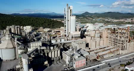 fireside : View from drone of cement plant industrial area, Catalonia, Spain Stock Footage