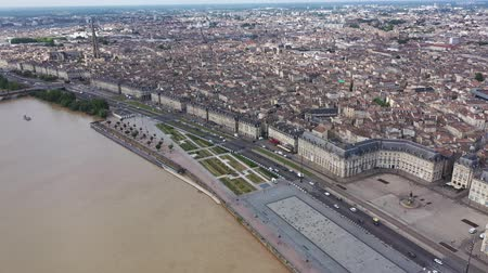michael : Panoramic aerial view of Bordeaux city on Garonne river on sunny summer day, Gironde, France Stock Footage