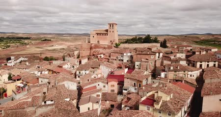 mudejar : Aerial view of Cervera de la Canada cityscape with parish Church of Santa Tecla, Aragon, Spain
