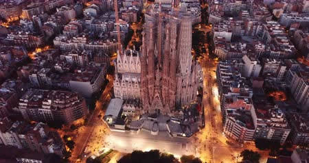 pyreneje : Night aerial cityscape of Barcelona with Sagrada Familia designed by Anthony Gaudi