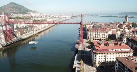 vizcaya : Aerial view of Bizkaia suspension Bridge in Portugalete, Spain