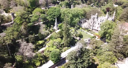 monteiro : Sintra, Portugal — April 21, 2019: Quinta da Regaleira palace in the municipality of Sintra. Panoramic view from drone. Portugal