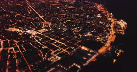 sao : Night aerial view of downtown of Lisbon overlooking medieval Cathedral Portugal Stock Footage
