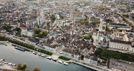 local de interesse : Image of aerial view with river of famous old town Auxerre in  France