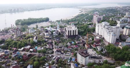 voronezh : View from drone of historic center and residential areas of Voronezh city on bank of Voronezh River, Russia Stock Footage