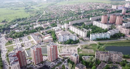 ügyintézés : Scenic view from drone of modern cityscape of Russian city of Chekhov Stock mozgókép