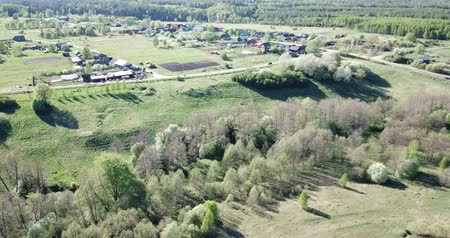 типичный : Aerial view of  city of Nikolo-Ushna,  typical village of Vladimir region, Russia