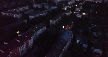 夜 : Night view of typical buildings at residential district. City Pokrov. Russia