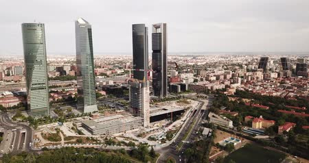 juni : MADRID, SPAIN - JUNE 16, 2019:  Four business skyscrapers (Cuatro Torres) of the business district in Madrid. Spain