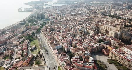 tarragone : View from drone of Catalan city of Tarragona with ancient amphitheatre