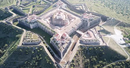 bástya : Aerial view of finest example of trace italienne in military architecture  - star-shaped Conde de Lippe Fort in Portuguese municipality of Elvas