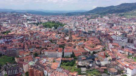 forestal : View from drone of residential areas of Spanish city of Oviedo on background on summer mountain landscape Stock Footage