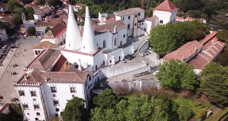 mouro : View of Palace of Sintra (Town Palace) overlooking Manueline wing, medieval royal residence in Portugal