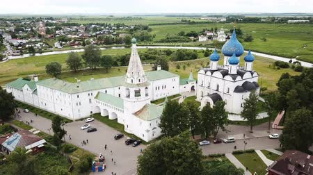 church of the nativity : Aerial panoramic view of Cathedral of Nativity of Virgin in Suzdal Kremlin on cloudy summer day, Russia