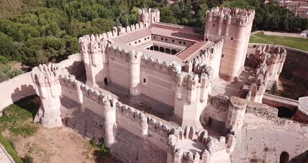 manor : Aerial view of Spanish medieval fortress Coca castle in Segovia province