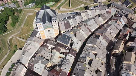 fortificado : Aerial view of French fortified town of Briancon overlooking ancient fortress on hilltop and two belfries of parish church