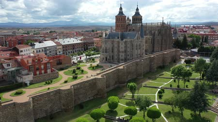 província : View from drone of residential area of Spanish city of Astorga overlooking medieval Gothic Cathedral and Episcopal Palace