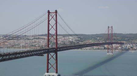 suyolu : Panoramic view of 25 de Abril Bridge - suspension bridge across Tagus river connecting Lisbon city to municipality of Almada, Portugal