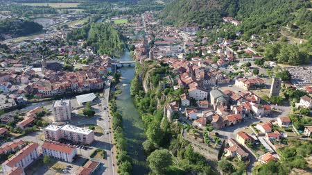 ariege : Panoramic aerial cityscape of Tarascon-sur-Ariege city on south of France Stock Footage