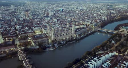 temple bell : Aerial view of the ancient spanish city of Zaragoza on dawn
