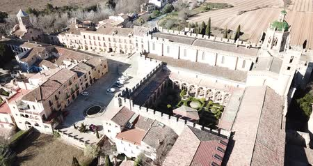 steeples : View from drone of Monastery of Santa Maria de Santes Creus, Spain