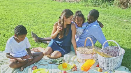 межрасовый : Happy mixed race couple with preteen children gaily spending time at picnic on green lawn