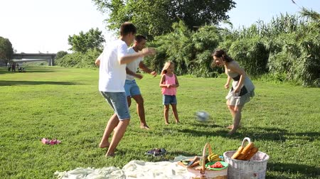 sport dzieci : Group of smiling children and parents having fun together outdoors playing football