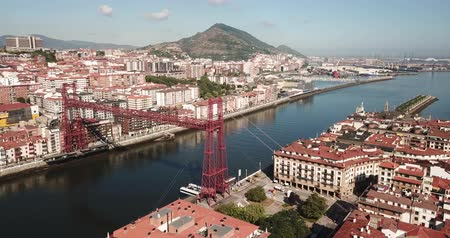 spanish style : Aerial  view of Vizcaya bridge over the river and cityscape at Portugalete, Spain