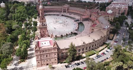 espana : Aerial view of Plaza dEspana with park and a bridge on ver the canal in Sevilla