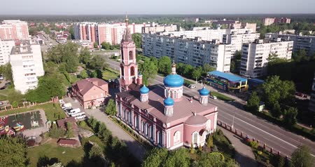 降誕 : Picturesque view from drone of Orekhovo-Zuyevo modern cityscape with Orthodox Cathedral of Nativity of Blessed Virgin, Russia 動画素材