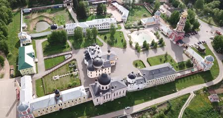 ансамбль : Scenic aerial view of Ascension David hermitage - Orthodox male monastery in Russian village of Novy Byt