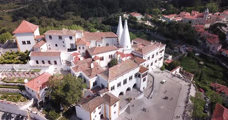 doména : Sintra, Portugal — April 21, 2019: Aerial view of impressive Sintra National Palace, Portugal, Europe