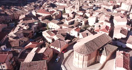 defensiva : Aerial panoramic view of tiled housetops and Cathedral in medieval Daroca, Spain