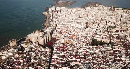 area of port : General aerial view of Spanish port city of Cadiz overlooking Atlantic Ocean in sunny day