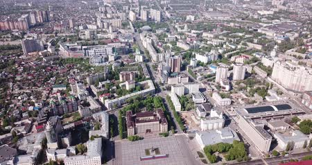 lenin : Panoramic day view of Voronezh city center and Lenin square, Russia Stock Footage