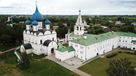architectural heritage : Aerial panoramic view of Cathedral of Nativity of Virgin in Suzdal Kremlin on cloudy summer day, Russia