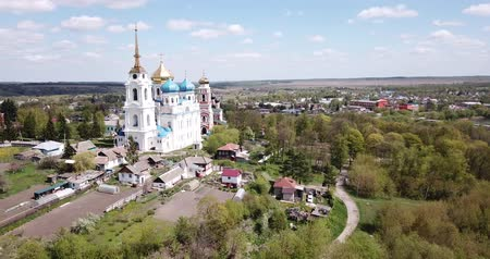 templomtorony : Picturesque rural landscape of small Russian town of Bolkhov with church of Great Martyr George in foreground and  Savior Transfiguration Cathedral on background