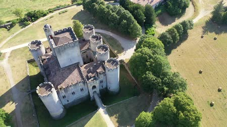 forestal : Aerial view of ancient fortified castle of Chateau de Roquetaillade in sunny summer day, Mazeres, France