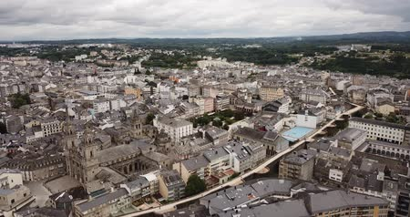 picture : Aerial  view of  Lugo district with buildings and landscape, Galicia Stock Footage