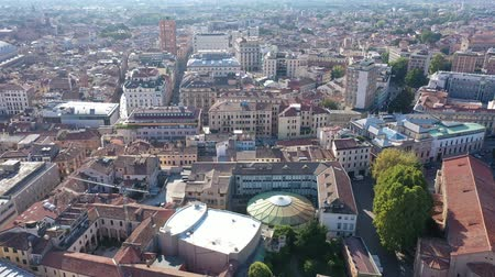impressive skyline : View from drone of Italian city of Padua overlooking large roof of Palazzo della Ragione, Veneto
