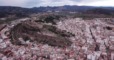 telha : Aerial view of Sagunto city and antique roman fortress, Valencia, Spain Stock Footage